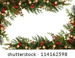 christmas seasonal  border of... | Shutterstock . vector #114162598