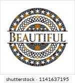 beautiful arabesque emblem.... | Shutterstock .eps vector #1141637195