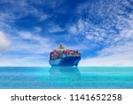 cargo container ship sailing in ... | Shutterstock . vector #1141652258