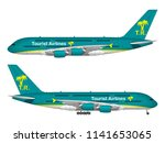 realistic passenger airplane.... | Shutterstock .eps vector #1141653065
