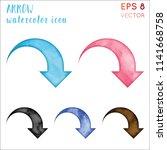 arrow watercolor icon set.... | Shutterstock .eps vector #1141668758