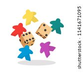 multicolor meeple and dice... | Shutterstock .eps vector #1141671095