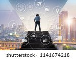 ambitions businessman climbed...   Shutterstock . vector #1141674218