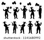 set of joker silhouette vector. ...   Shutterstock .eps vector #1141680992
