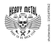 skull with wings heavy metal... | Shutterstock .eps vector #1141695062