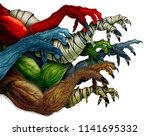 group of monster arms isolated... | Shutterstock . vector #1141695332