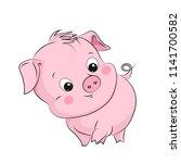 cute little pig. cartoon vector ... | Shutterstock .eps vector #1141700582
