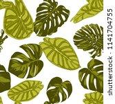 tropical leaves. seamless...   Shutterstock .eps vector #1141704755