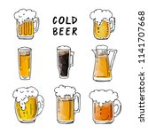 hand drawn beer mugs isolated... | Shutterstock .eps vector #1141707668