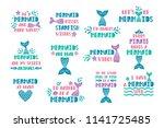 bundle of mermaid's cards.... | Shutterstock .eps vector #1141725485