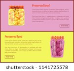 preserved food banners  fruit... | Shutterstock .eps vector #1141725578