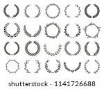 set of laurel wreaths. heraldic ... | Shutterstock .eps vector #1141726688