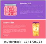 preserved food banners with... | Shutterstock .eps vector #1141726715