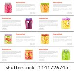 preserved healthy food in jars...   Shutterstock .eps vector #1141726745