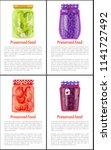 preserved food in jars posters... | Shutterstock .eps vector #1141727492