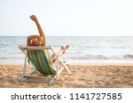 summer beach vacation concept ... | Shutterstock . vector #1141727585
