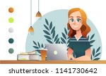 girl happy study notebook.... | Shutterstock .eps vector #1141730642