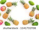 food frame with pineapple ... | Shutterstock . vector #1141731938