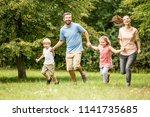 family with children enjoying... | Shutterstock . vector #1141735685