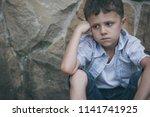 portrait of sad little boy... | Shutterstock . vector #1141741925