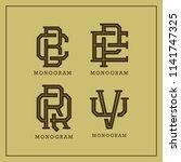set monogram old fashioned... | Shutterstock .eps vector #1141747325