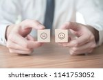businessman showing rating with ... | Shutterstock . vector #1141753052