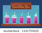 purple natural fruit smoothies... | Shutterstock .eps vector #1141753325