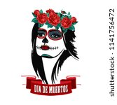 day of the dead woman portrait... | Shutterstock .eps vector #1141756472