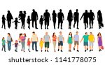 silhouettes of walking people | Shutterstock .eps vector #1141778075
