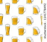 seamless pattern mugs and glass ... | Shutterstock .eps vector #1141778492