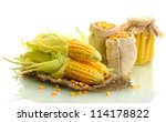 fresh corn and bags with dry... | Shutterstock . vector #114178822