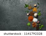 various herbs and spices on... | Shutterstock . vector #1141792328