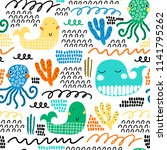 childish seamless pattern with... | Shutterstock .eps vector #1141795262
