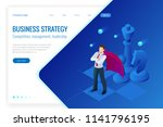 isometric businessman standing... | Shutterstock .eps vector #1141796195