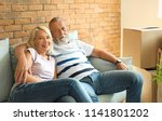 mature couple resting on sofa... | Shutterstock . vector #1141801202