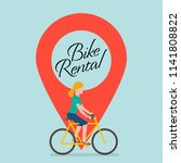 bike rental sign with location... | Shutterstock .eps vector #1141808822