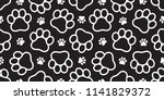 Stock vector dog paw seamless vector footprint pattern kitten puppy tile background repeat wallpaper isolated 1141829372