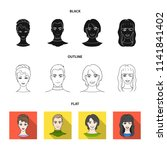 different looks of young people.... | Shutterstock .eps vector #1141841402