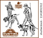 hunters with dogs   retro... | Shutterstock .eps vector #1141851512
