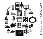 home furnishing icons set.... | Shutterstock .eps vector #1141865642