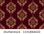 seamless golden wallpaper... | Shutterstock .eps vector #1141866632
