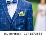 blue bridegroom's wedding suit... | Shutterstock . vector #1141873655