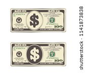 design of 100 dollars. set of... | Shutterstock .eps vector #1141873838