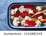 fresh vegetables ready to be...   Shutterstock . vector #1141882145