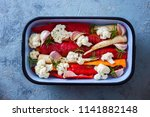 fresh vegetables ready to be...   Shutterstock . vector #1141882148