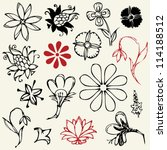 hand drawn sketchy flowers | Shutterstock .eps vector #114188512
