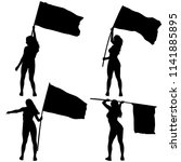 set silhouettes of woman with... | Shutterstock .eps vector #1141885895