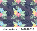 seamless tropical pattern with... | Shutterstock . vector #1141898018