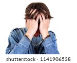 troubled and sorrowful young... | Shutterstock . vector #1141906538