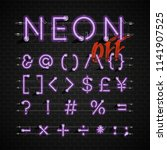 high detailed neon font set ... | Shutterstock .eps vector #1141907525